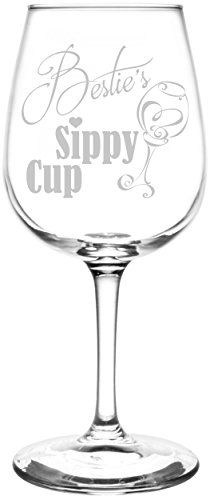 [Personalized & Custom (Bestie) Funny Sippy Cup Novelty Present & Gift Idea Inspired - Laser Engraved 12.75oz Libbey All-Purpose Wine Taster] (Customs For Halloween Ideas)