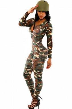 Señoras ejército verde impresión mono homocisteína disfraz ...