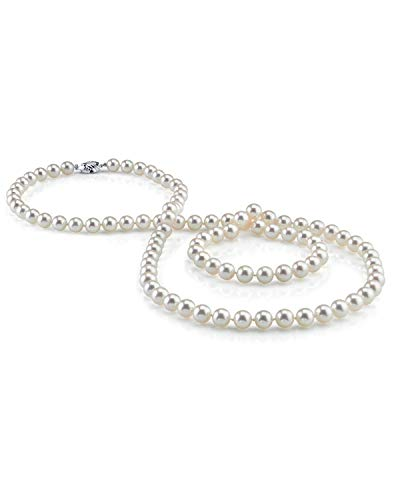 (THE PEARL SOURCE 7-8mm AAA Quality Round White Freshwater Cultured Pearl Necklace for Women in 51