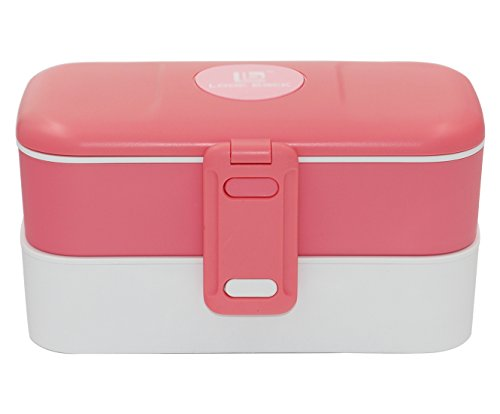 Superbpag 2 Layers Leak-proof Bento Lunch Boxes with Cutlery (PINK)