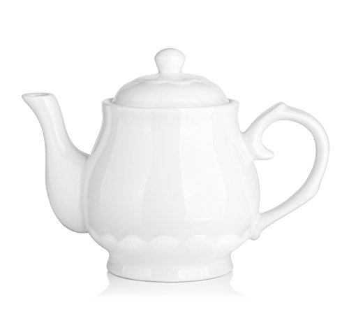 DOWAN Porcelain Teapot 22 OZ White Fine Pierced Ceramic Tea Pot Set Of One