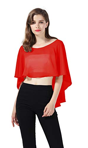 Bridal Capelet Chiffon Cape Shawls High-Low Short Tops For Women Wedding Dresses Red