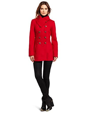 Jessica Simpson Women's Double Breasted Jacket, Red, X-Large