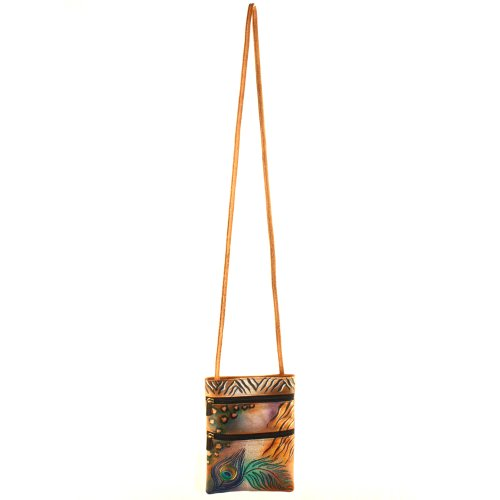 Anuschka Peacock Small Companion Travel Bag Safari Leather Genuine Handpainted 7zwPr7