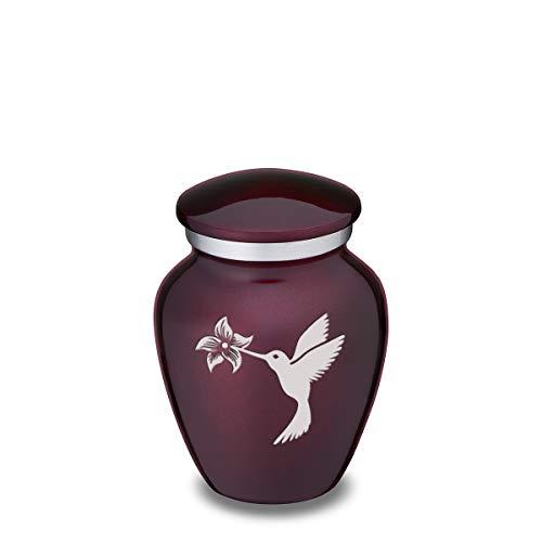GetUrns Keepsake Mini Hummingbird Embrace Cremation Urn for Sharing (Cherry Purple)