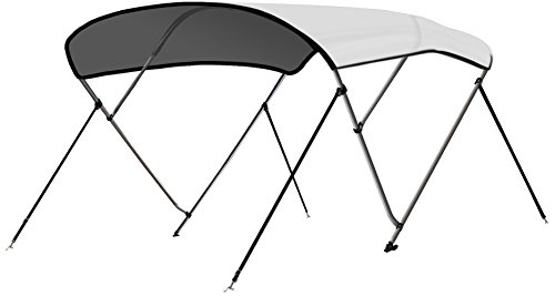 - Leader Accessories 13 Colors 3 Bow Bimini Top Boat Cover 4 Straps for Front and Rear Includes Mounting Hardwares with 1 Inch Aluminum Frame (White, 6'L x 46