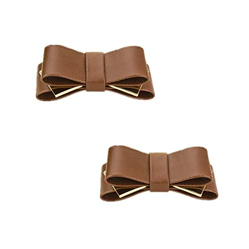 Douqu A Pair Bridal Wedding Multi Colors Elegant Leather Bow Shoe Clips Shoe Accessories for Women Lady (Coffee)