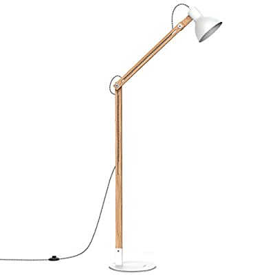 "Tomons Wood Floor Lamp, Adjustable Head Reading Light, Nature Rubber Wood, 8W Warm White LED Light, 40W E26 Incandescent Lamp, 57.8"" Height Suitable For Living Room, Bedroom, Study Room-FL1001 - 【Classic Style】Tomons floor lamp brightens your room and your mood with unique, minimalist North European (Scandinavian) inspired style. 【High Quality Material】 Nature Rubber Wood, The floor lamp is integrated with high-quality metal lampshade and base, plus a nylon braided cable for an enduring, durable and aesthetic lamp. 【Adjustable Angle】The Tomons wooden LED floor lamp has flexible swing arm which makes it easy to find the perfect lighting angle. - living-room-decor, living-room, floor-lamps - 31fEGXwh8dL. SS400  -"