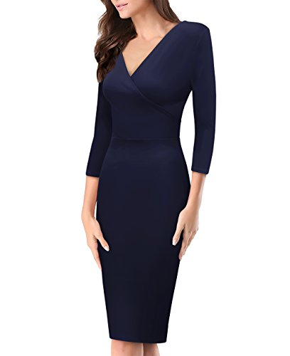 Women's Plum Cross V Neck MIDI Dress KDR44322 1073T Navy Small (Navy Plum)