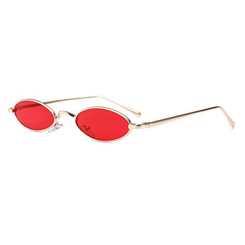 Bedis Small Oval Sunglasse,Retro Slender Metal Frame Candy Colors Glasses BD212 (Gold&Red, - Face Men Oval