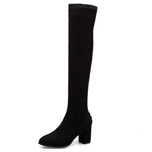 HAOLIEQUAN Größe 34-43 Frauen Lange Stiefel Stiefel Stiefel Zipper Dicke Heels Runde Kappe Klassische Über Knie  Mode Schuhe Frau Schuhe 3ed1c2
