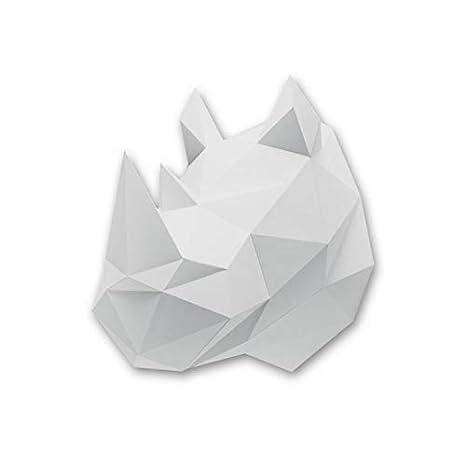 Assembli Kit trofeo Origami rinoceronte papel gris de ...