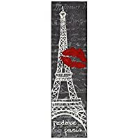 1 Piece Indoor Girls I Love Paris Runner Rug, Eiffel Tower Themed Hallway Carpet, France Inspired Long Flooring, Narrow Skinny Rectangle Entrace Way Rug, Black Grey Red Ivory White, Nylon, 2Ft X 8Ft