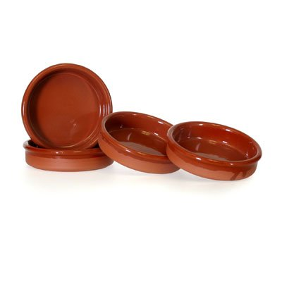 (Set of 4 Rustic Cazuela Clay Pans - 4.5 inch/ 12 cm)