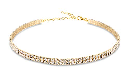 Gold Clear Rhinestone Necklace - Mooinn 2 Rows Rhinestone Crystal Choker Necklace Clear Gold Diamond Choker Necklaces for Women