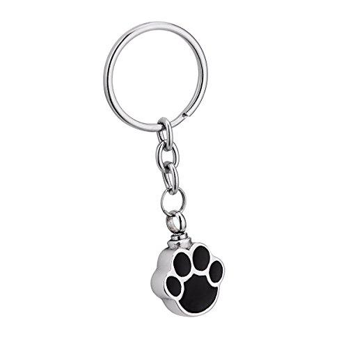 (Dog Palm Cremation Urn Keychain Stainless Steel Detachable Memorial Ash Keepsake Cremation Jewelry)