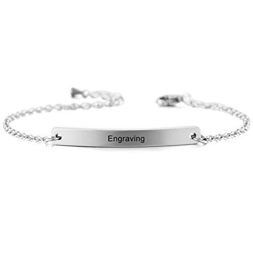 MeMeDIY Silver Tone Stainless Steel Bracelet Link Adjustable - Customized Engraving ()