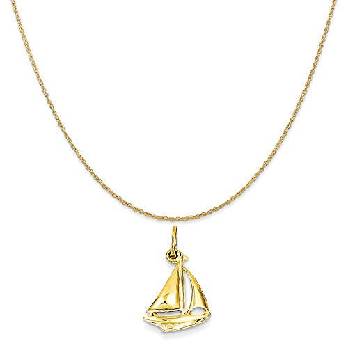 14k Yellow Gold Sailboat Charm on a 14K Yellow Gold Rope Chain Necklace, 18
