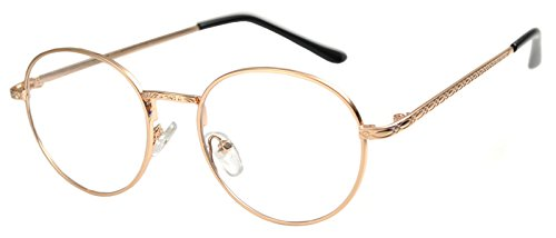 Round Retro Vintage Circle Style Sunglasses Colored Metal Frame OWL (070_Gold_Rose_Clear, PC - Coloured Sunglasses Rose