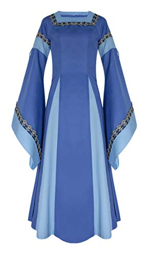 (VenaSha Womens Renaissance Medieval Costume Royal Vintage Victorian Dress (Blue,)