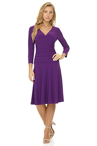 Rekucci Women's Slimming 3/4 Sleeve Fit-and-Flare Crossover Tummy Control Dress (4,Grape) (Best Dress For Hourglass)
