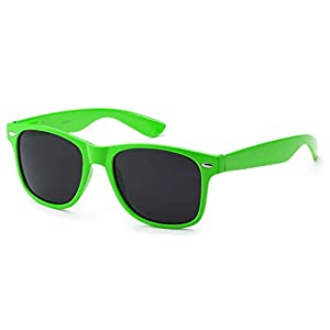 WebDeals - Sunglasses Classic 80s Style Assorted Color Frames and Lenses (Neon Green, Smoke)