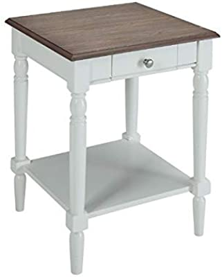 End Table Storage - Wood End Table - Driftwood/White
