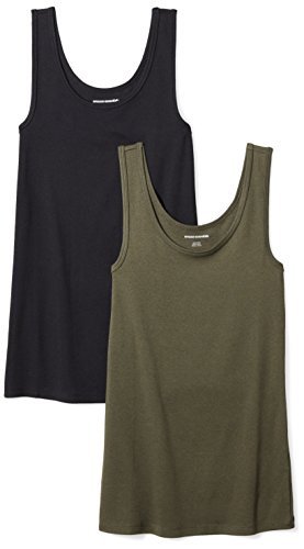 Amazon Essentials Women's 2-Pack Tank, Olive/Black, Medium by Amazon Essentials