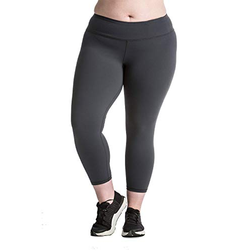 Plus Size Capri Leggings - Premium Quality Women's Compression Yoga Pants for The Curvy Girl - Made in USA - Charcoal 26-28 (XXXXL)]()