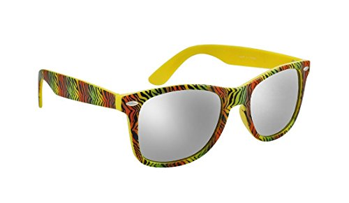 Yellow Mirrored Lens Sunglasses with Zebra Striped - Striped Zebra Sunglasses