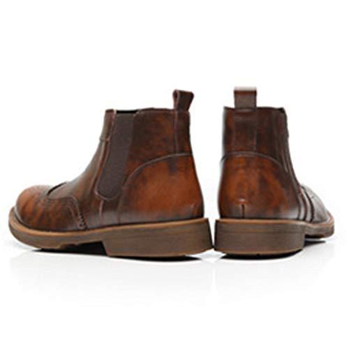 Mens Boots Intagliate Boots Desert per in Classic Stivali da Pelle Brown Adulti Scarpe Uomo Chelsea Brogue Martin d5xwqcZRq