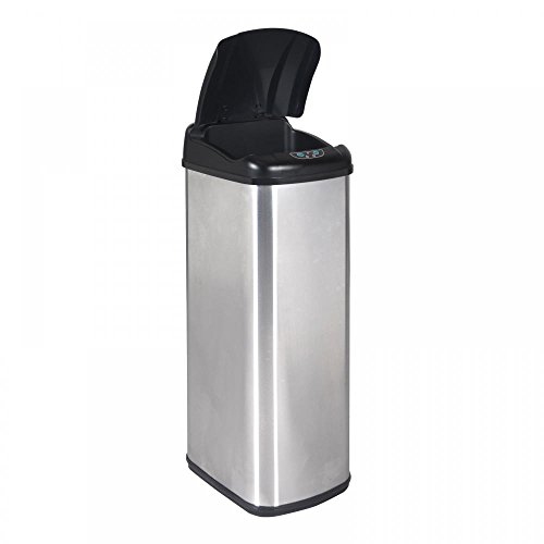 Eight24hours New 13 Gallon Touch-Free Sensor Automatic Stainless-Steel Trash Can Kitchen + FREE E-Book