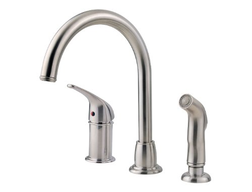 Pfister LF-WK1-680S Cagney 1-Handle Kitchen Faucet with Side Spray in Stainless Steel, 1.8gpm ()