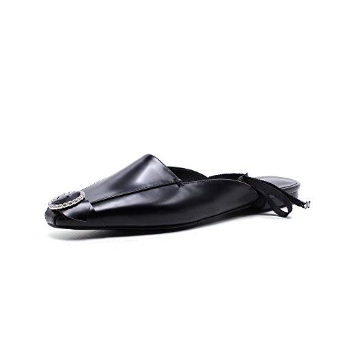 elegante cuadrada de seis agua Metal tacon 37 Sandalias mujer AJUNR Transpirable Fondo bajo y de Negro Zapatos Zapatillas plano Moda Baotou Zapatos Taladro Treinta Cabeza de 8PAqw5