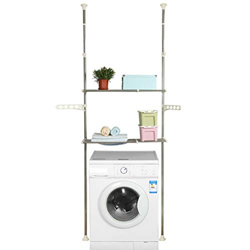 Hershii 2-Layer Over The Toilet Storage Standing Shelf Units Bathroom Space Saver Adjustable Laundry Shelf Clothing Rack Hanger Organization Double Tension Pole