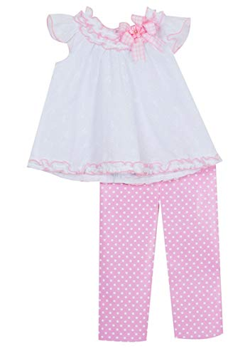 Rare Editions Baby Girls Pink and White Eyelet Spring Set (3m-24m) (18 Months)