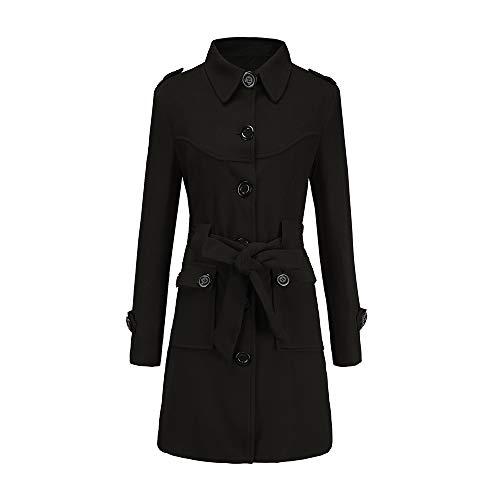 CUCUHAM Women Winter Warm Woolen Coat Trench Parka Jacket Belt Overcoat Outwear(Black,US:12/CN:XL) -