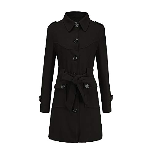 - Womens Winter Coats Sale,HULKAY Clearance Upgrade Women's Wool Jacket Trench Jacket Button Belt Parka Jackets for Women(Black,M)