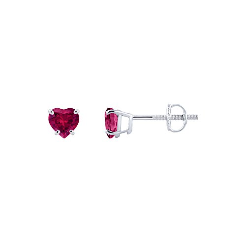 Diamond Scotch Jewelry 14K White Gold Over Screw Back 5mm 0.94 Ct Simulated Ruby Heart Shape Solitaire Stud Earrings for Women