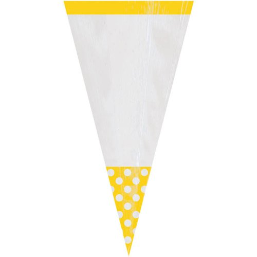 Amscan 10 Party Bags Cone Shape - Sunshine (Bag Of Popcorn Costume)