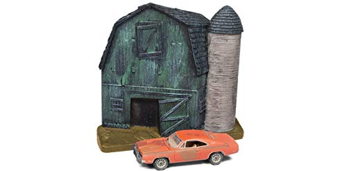 1969 Dodge Charger Orange (Unrestored) with Barn Finds Resin Facade Diorama Lost Legend Series 1/64 Diecast Model by Johnny Lightning JLDR006 Dodge from Johnny Lightning