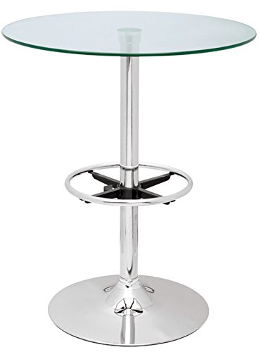 Chintaly Imports Pub Table with Round Glass Top, Chrome/Clear
