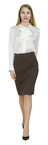 Marycrafts Women's Work Office Business Pencil Skirt M Dark Brown (Rayon Nylon)