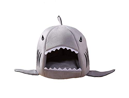 Shark Fun Caves Fish - M&G House Cat Bed Cave, Grey Shark Pet House with Removable Bed Cushion Mat for Large Cat Dog Cave Bed,Waterproof Bottom Most Lovely Pet House Gift M