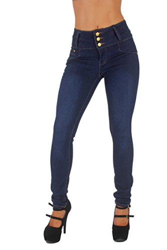 Style G354- Colombian Design, High Waist, Butt Lift, Levanta Cola, Skinny Jeans in Dark Blue (0) by Diamante