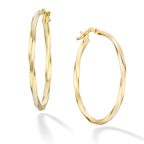Miabella 18K Gold Over Sterling Silver Italian 2mm Round Twisted Hoop Earrings for Women Men 15mm, 20mm, 30mm, 40mm, 50mm, 60mm (30)