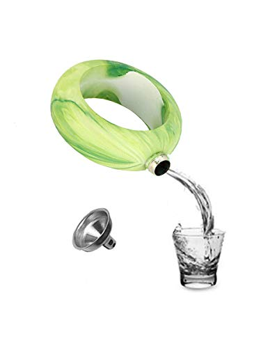 (FON ALLEY Marble Texture Stainless Steel Liquor Flask with Funnel (Green))