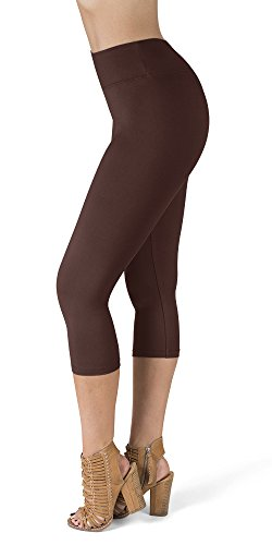 SATINA High Waisted Super Soft Capri Leggings - 20 Colors - Reg & Plus Size (Plus Size, Brown)