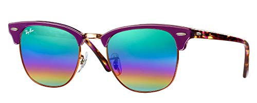 Ray-Ban RB3016 (1221C3) Violet/Metallic Bronze/Green Mirror Rainbow1 51mm, Sunglasses Bundle with original case, cloth, booklet and accessories (6 items) (Polaroid Sunglasses Ray Ban)