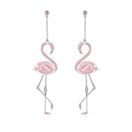 Sparkling Crystal Pink Flamingo /& Palm Tree Fashionable Earrings Dangle Post